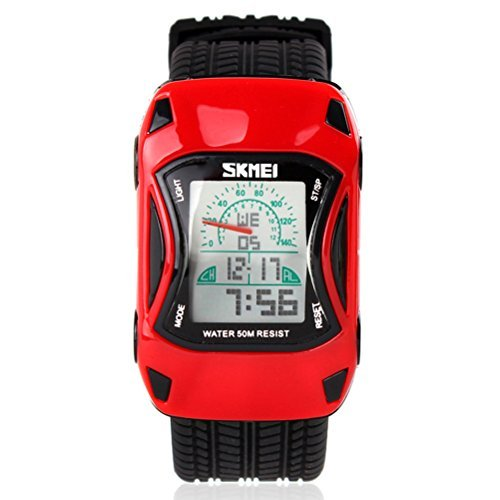 GRyiyi Kids Watch Sport Car Shape LED Watch Waterproof Digital Watch for Kids, Spirited Red (Car Red Shape)