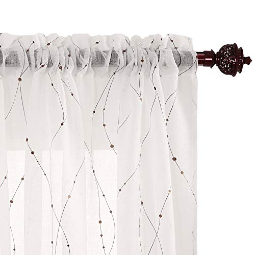 Deconovo White Sheer Curtain 96 Wave Line with Dots Linen Look Rod Pocket Voile Curtains for Boys Room 52W x 96L Dark Gold 2 Panels