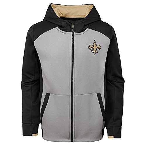 (Outerstuff NFL New Orleans Saints Kids & Youth Boys Hi Tech Performance Full Zip Hoodie, Black, Youth X-Large(18))