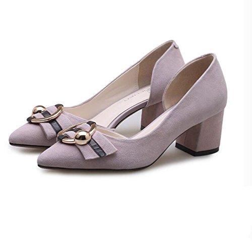 XZGC Muelle de Una Sola Capa Gruesa Y con Los Zapatos de Tacón Alto Zapatos de matorral Lateral Púrpura claro