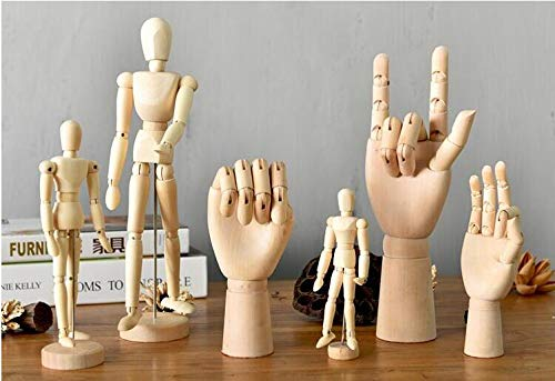 Wooden Human Mannequin Model Decoration Dolls Joint Hand Home Accessories Miniature Human Artist Model for Drawing Sketch
