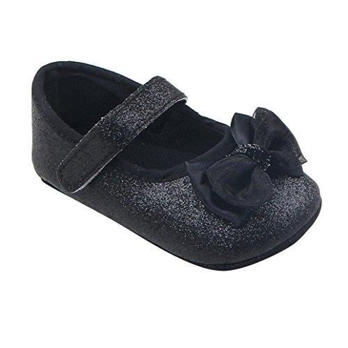 Clode® Kleinkind Mädchen Bowknot glänzendes Pulver weiche Sohle Krippe Schuhe Babyschuhe Schwarz