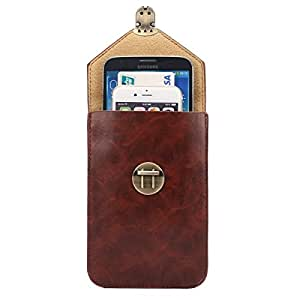 5.7 Inch Universal Fashionable Vertical Crazy Horse Texture Three Layers Multi-function Leather Case / Waist Bag for iPhone 6 Plus & 6S Plus, Samsung Galaxy S6 Edge+ / G928 & Note 5 / N920 & A8 / A800 & Note IV / N910 (Coffee)