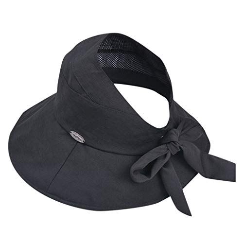 TIANMI Women Casual Wide Summer Brimmed Hat Ladies Floppy Outdoor Beach Hat Foldable Solid Bow-Knot Black ()