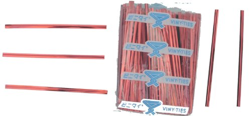"Tach-It 4"" x 5/32"" Red Metallic Cut to Length Twist Tie (Pack of 500)"