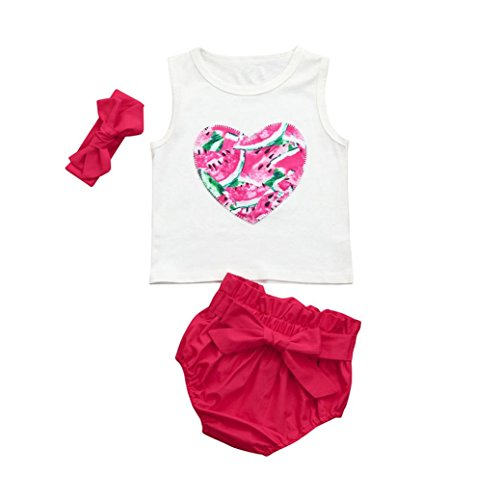 baf19f27c448a iumei babies Little & Big Girls Fruits Styles Sleeveless Tank Tops+Shorts  Pants+Hairband