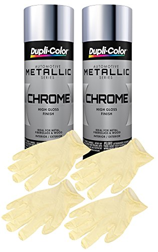Dupli-Color CS101 Chrome Instant Enamel Spray (11 oz) Bundle with Latex Gloves (6 - Instant Chrome Paint