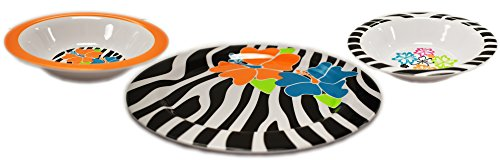 Melamine Hibiscus Plate and Bowl Zebra Pattern Floral Design Perfect for Parties Barbecues Indoor and Outdoor Table Settings! Useful as Serving Dishes Sandwiches Chips Cakes Fruit! (Set of 3)