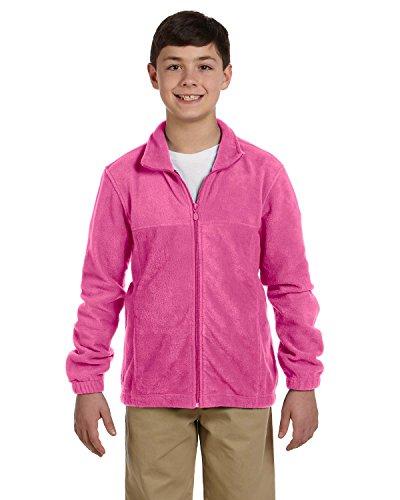 Harriton youth M990Y 8 oz Full-Zip Fleece - CHARITY PINK - XL