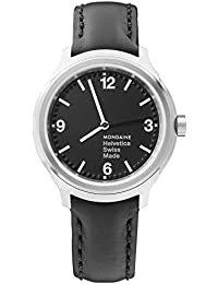 Helvetica Wrist Watch Men (Model: MH1.B3120.LB) Black Leather Strap, Silver Stainless Steel Case, Black Dial and White Hands and Numbers
