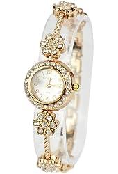 Zeagoo Women's Alloy Crystal Quartz Plum Blossom Bracelet Bangle Wrist Watch Rose Golden