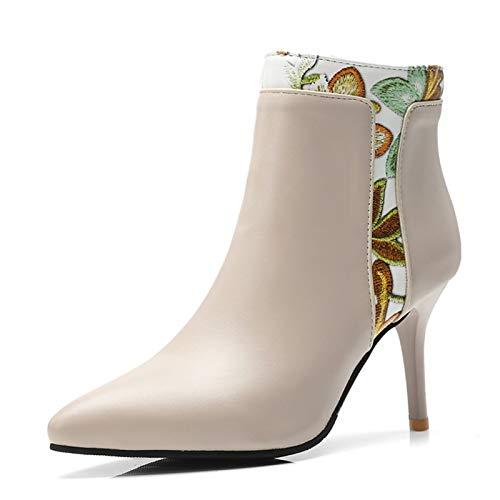 Beige US12   EU44   UK10   CN46 Beige US12   EU44   UK10   CN46 Women's shoes PU Fall & Winter Fashion Boots Boots Stiletto Heel Pointed Toe Booties Ankle Boots Black Beige   Party & Evening