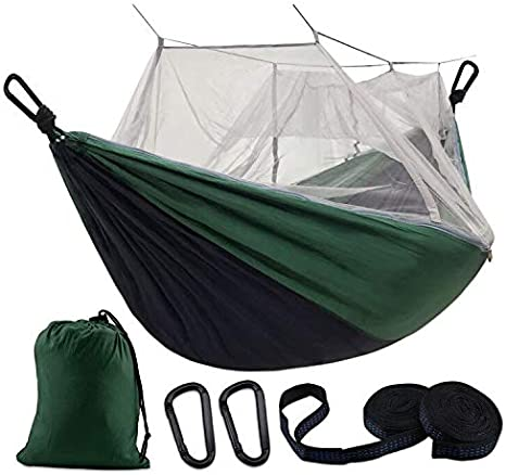Details about  /Single  Double Camping Hammock With Mosquito//Bug Net 10Ft Hammock Tree Straps