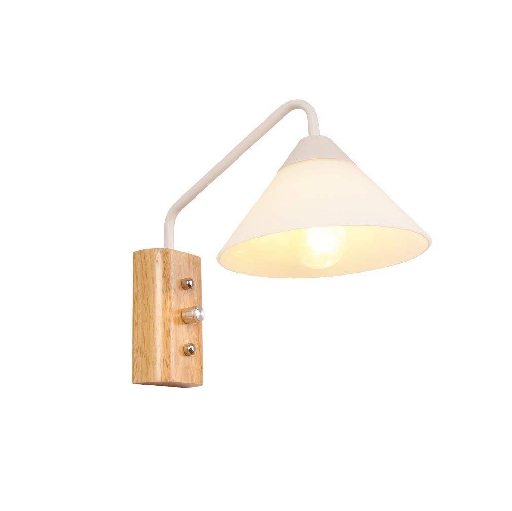 Xiao Fan  Nordic Wandleuchte Modernen Minimalistischen Kreativen Wohnzimmer Schlafzimmer Nachttischlampe Treppenhausgang Massivholz LED Wandleuchte (Farbe  Weiß)