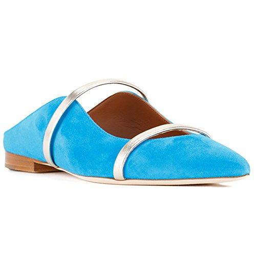 Comfity Muilezels Voor Dames, Puntschoen Slippers Twee Smalle Enkele Band Dias Backless Jurk Flats Blauw