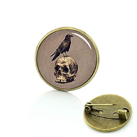 Broches de calavera de cuervo vintage para hombres y mujeres ...