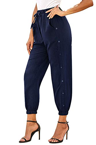 NEWFANGLE Women's Linen Casual Pants Drawstring Elastic Waist with Pockets Solid Comfy Loose Fit Trousers,Navy Blue,M