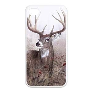 Custom Unique Cartoon Deer Design Rubber TPU Case Cover For Iphone 4 4S