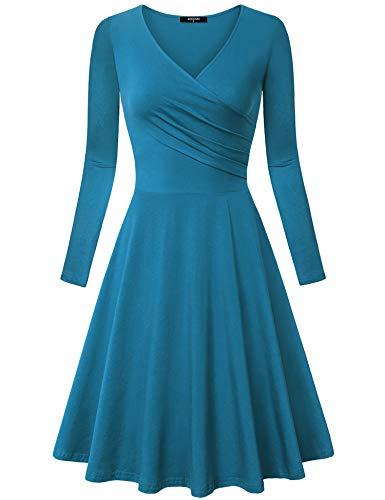 Jersey Waist Empire V-neck (Lotusmile Long Sleeve Dresses for Women Casual, Sexy V Neck Elegant Vintage A Line Dress (Small, Dark Cyan))