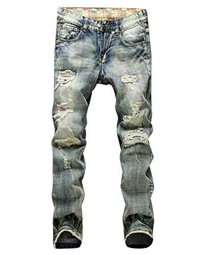 Stretch Knee Slim Fit Alsbild Jeans Strappati Il Uomo Pantaloni Destroyed Stile Semplice Tempo Per Libero Da In Denim fqYFwKyU6