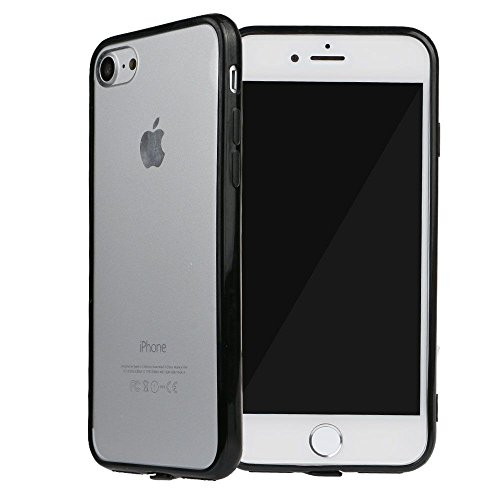 VANKER Acrylique Dur Transparent Arrière Protecteur Peau Couverture Coque pour iPhone 7 4.7 Noir