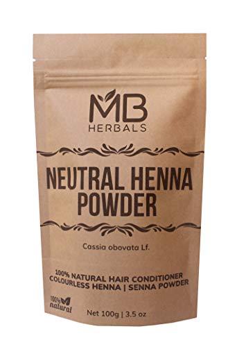 MB Herbals Neutral Henna Powder 100g | Senna Powder | Cassia obovata | Colorless Henna | Natural Hair Conditioner | For Soft Shiny & Healthy ()