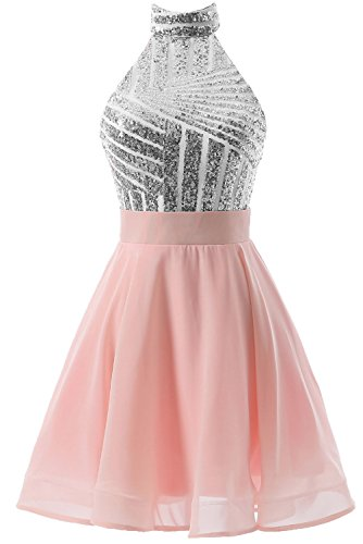 DYS Women's Short Halter Prom Party Dress Backless Homecoming Dress for Juniors Silver-pink US 18Plus
