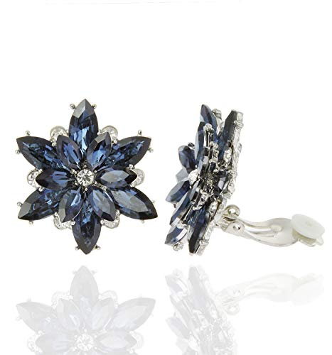 SP Sophia Collection Sparkly Flower Burst Crystal Cluster Stud Clip On Earrings in Navy