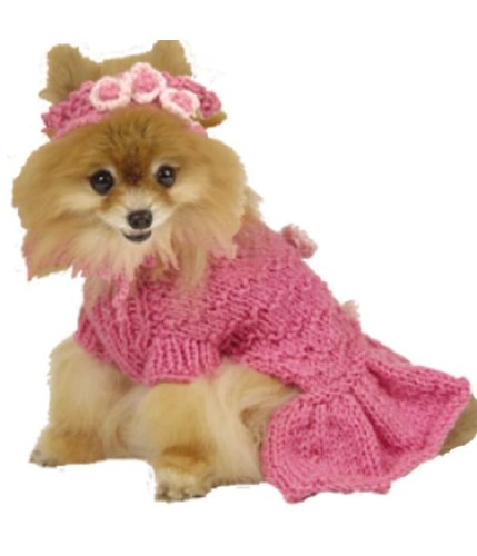 Max's Closet 00100-10 Hot Pink Ruffled Sweater Dress with Head Band, My Pet Supplies