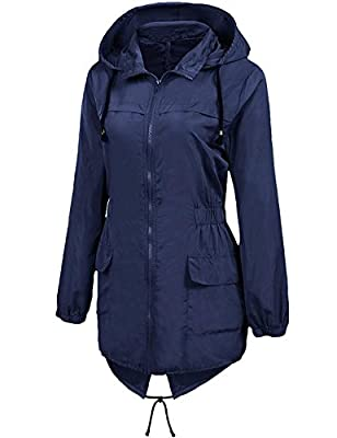 dongba Women's Waterproof Lightweight Active Outdoor Raincoat With Hood Long Rain Jacket