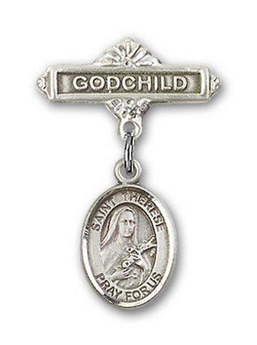 Icecarats Créatrice De Bijoux En Argent Sterling St. Thérèse De Lisieux Charme Broches Badge Filleul 1 X 5/8