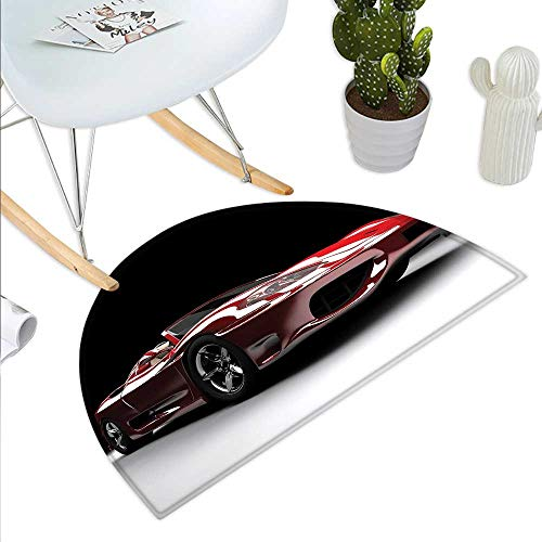 (Cars Semicircle Doormat Automotive Industry Theme Powerful Engine Fast Technology Prestige Performance Halfmoon doormats H 31.5