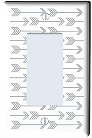 Grey Arrow Print Light Switch Plate and Outlet Covers/Grey Woodland Nursery Decor for Baby Boys Or Girls (Double Toggle) Presto Chango Decor Inc.