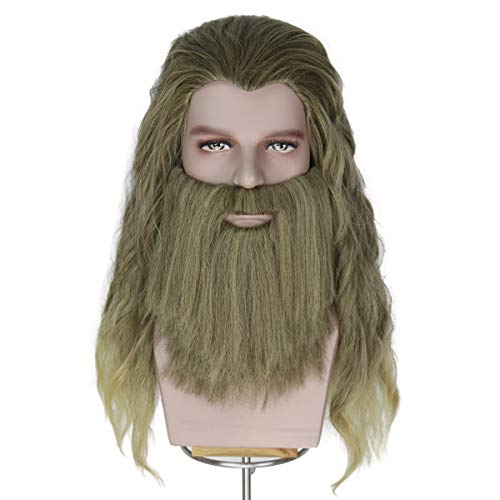 Yan Dream Men Long Blonde Wig Thor Endgame Mustache Cosplay Hair Wigs Halloween
