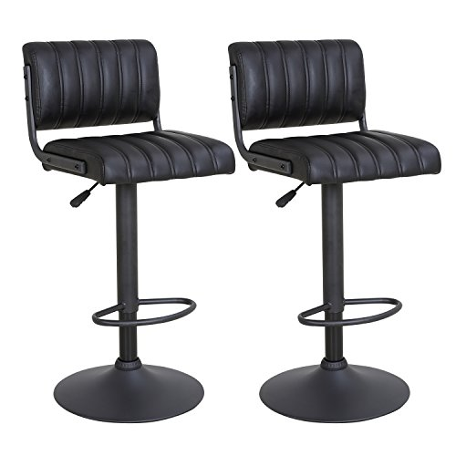 LCH 24 – 33 PU Leather Adjustable Bar Stools, Set of 2 Stylish Counter Height Swivel Bar Stool Chairs with Backrest, Black