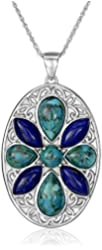 Sterling Silver Synthetic Compressed Turquoise and Lapis Oval Medallion Pendant Necklace