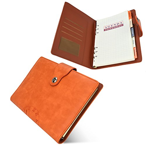 EsOffice Leather Notebook, Refillable Journal, Personal Agenda with Label, Leather Diary with Magnetic Clasp/Card Holder/Pen Loop,6 Hole Lined 106 pages, A5 / 8.4 X 6.1 Inches, (Small Ring Agenda)