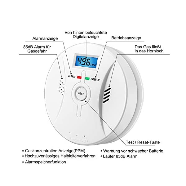 41MWyRmzS6L Kohlenmonoxid Warnmelder mit LCD Display CO Melder Lauter 85 Db Alarm Kohlenmonoxid Melder mit Kohlenmonoxidsensor…