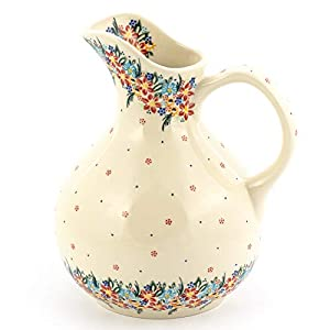 Polish Pottery, Handpainted and Handcrafted Water or Juice Jug ― Delicate Flowers Unique Pattern (U422)