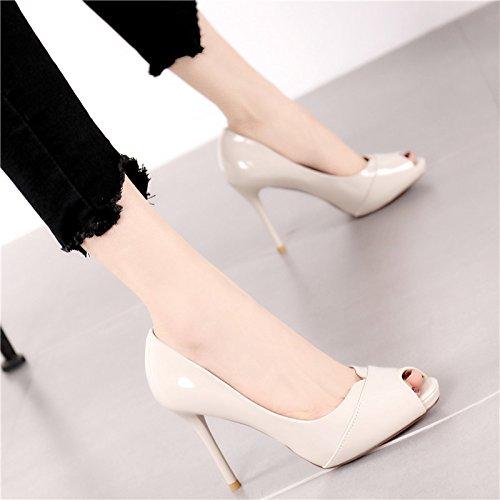 lacca di partito di YMFIE e scarpe pelle scarpe alti ladies' Estate per a con nuove banchetti tacchi tacchi bocca mode w6AqtIA