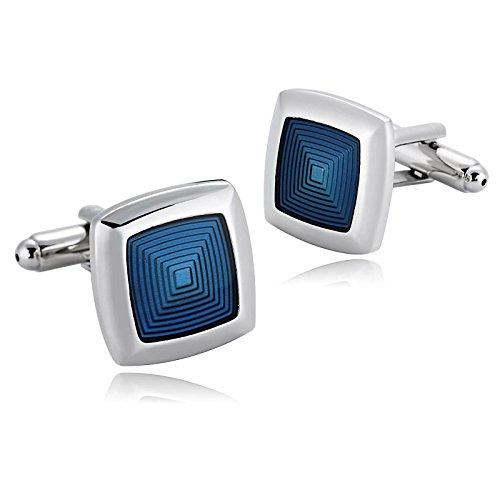 KnSam Stainless Steel Silver Blue Square Single Pierced Crystal Cufflinks for Mens