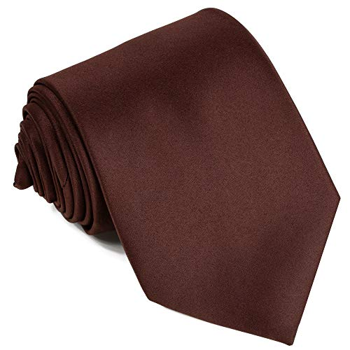 Ties For Men Satin Necktie - Mens Solid Color Neck Tie Wedding Neckties (Brown) ()