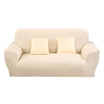 Hotniu Funda de sofá elástica, Cubre de sofá o sillón Universal, Protector Pare Sofa Muebles de 3 plazas, Beige