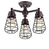 Cheap Dazhuan Vintage Metal Cage 3-Lights Chandelier Semi Flush Mount Ceiling Light Lamp