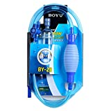 SIFANG Aquarium Glass Cleaner with Pump Vacuum, 8ft Quick Release Fish Tank Drainer Gravel Cleaner Water Filter Syphon Hose