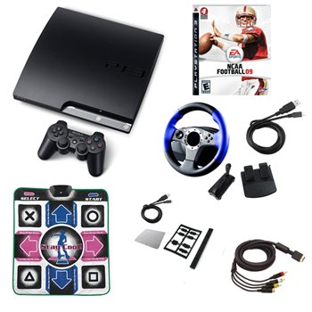 "Sony Playstation 3 Slim ""Super Bundle""- Wheel, Dance Pad, Cables, and More 160GB"