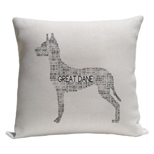 - Great Dane Word Silhouette Throw Pillow