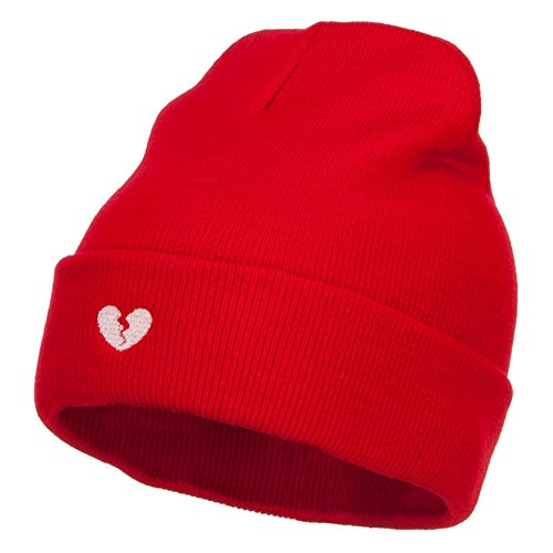 Mini Broken Heart Embroidered Long Beanie - Red OSFM