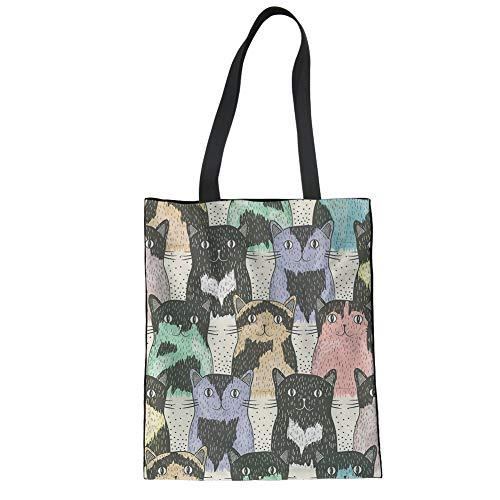 Mumeson Women Reusable Produce Bags Cute Cat Print Heavy Duty Linen Tote Handbag Fruit & Vegetable Storage Pouch