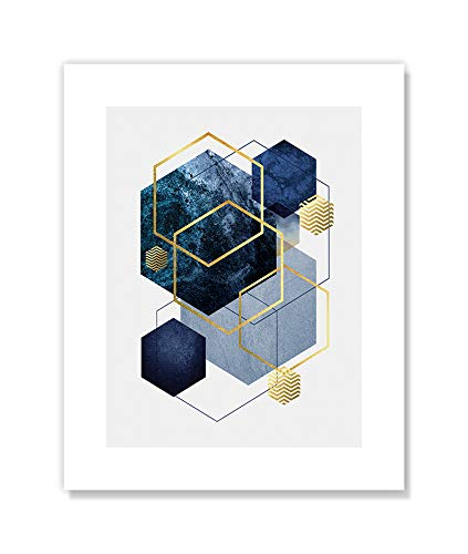 Casa Fine Arts Navy Gold Geo I Modern Abstract Wall Art Archival Print, 8